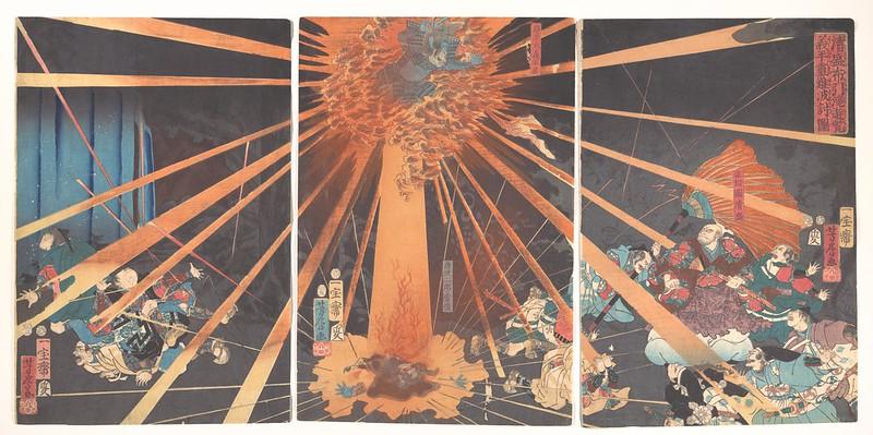 Utagawa Kuniyoshi - The Ghost of Akugenta Taking Revenge on Nanba at the Nunobiki Waterfall, 1856