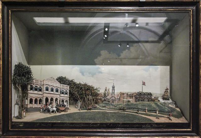 Diorama of Goverment Square in Paramaribo, Gerrit Schouten, wood paper glass, 1812