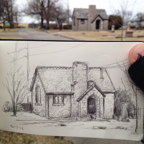 Cold and sketching in Maple Park Cemetery.