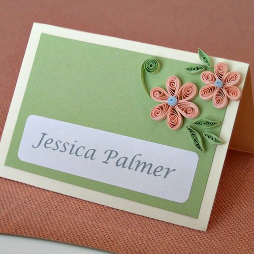 Quilled Bridal Shower or Wedding Place Card