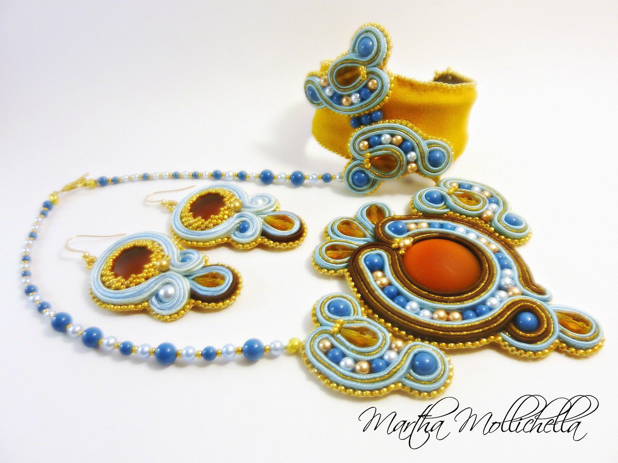 soutache jewels hand beaded jewellery hand made in Italy by Martha Mollichella Handmade jewelry