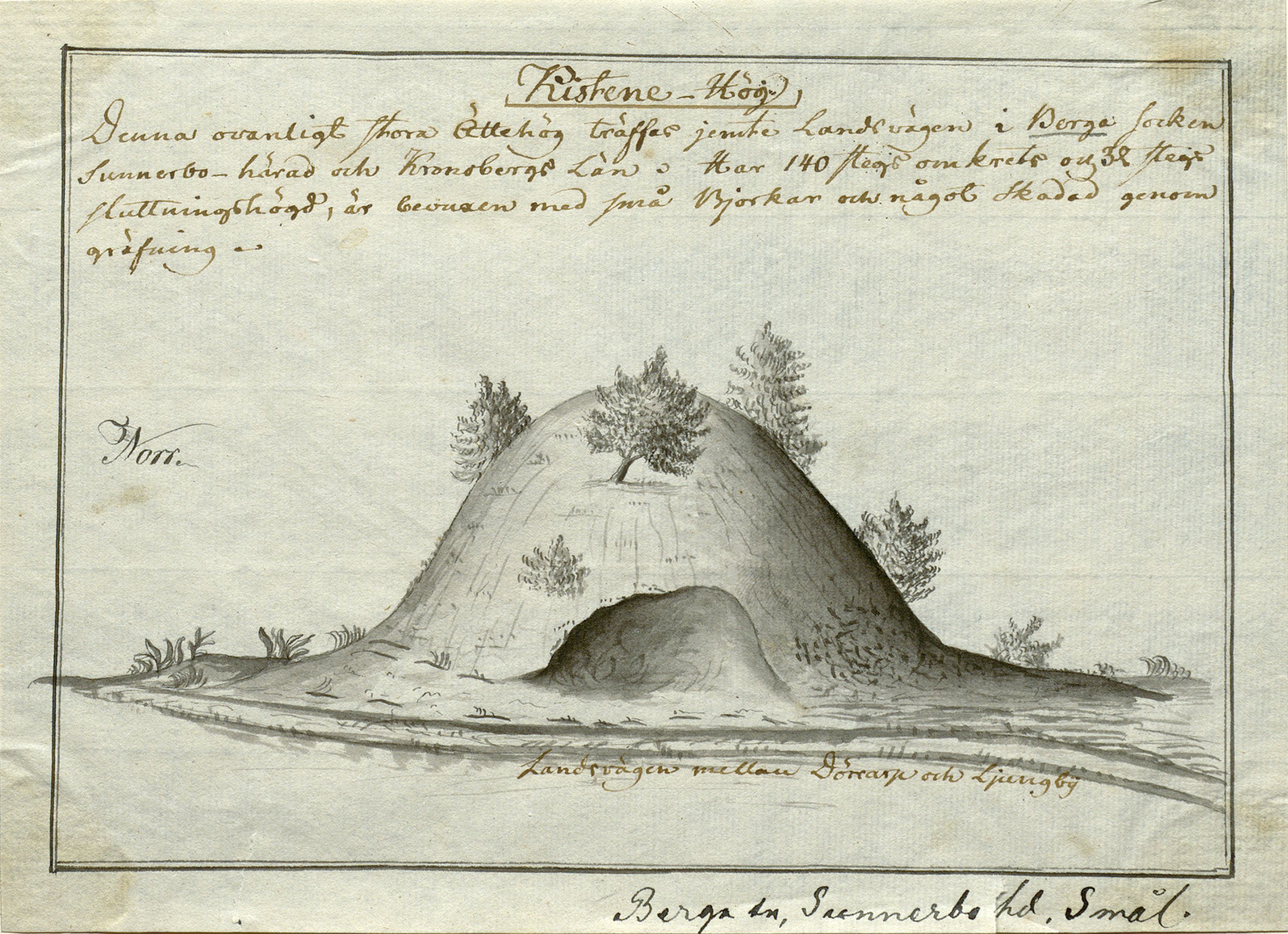 Tumulus in Kittekulle, Berga parish, Småland, Sweden