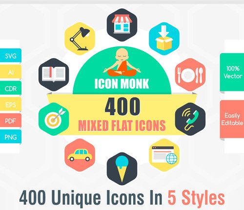 400 Flat Unlimited color icons