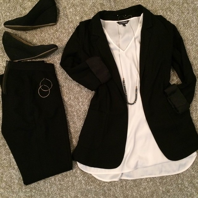 black blazer + white tunic + black pixie pants + black wedges + long necklace + hoop earrings