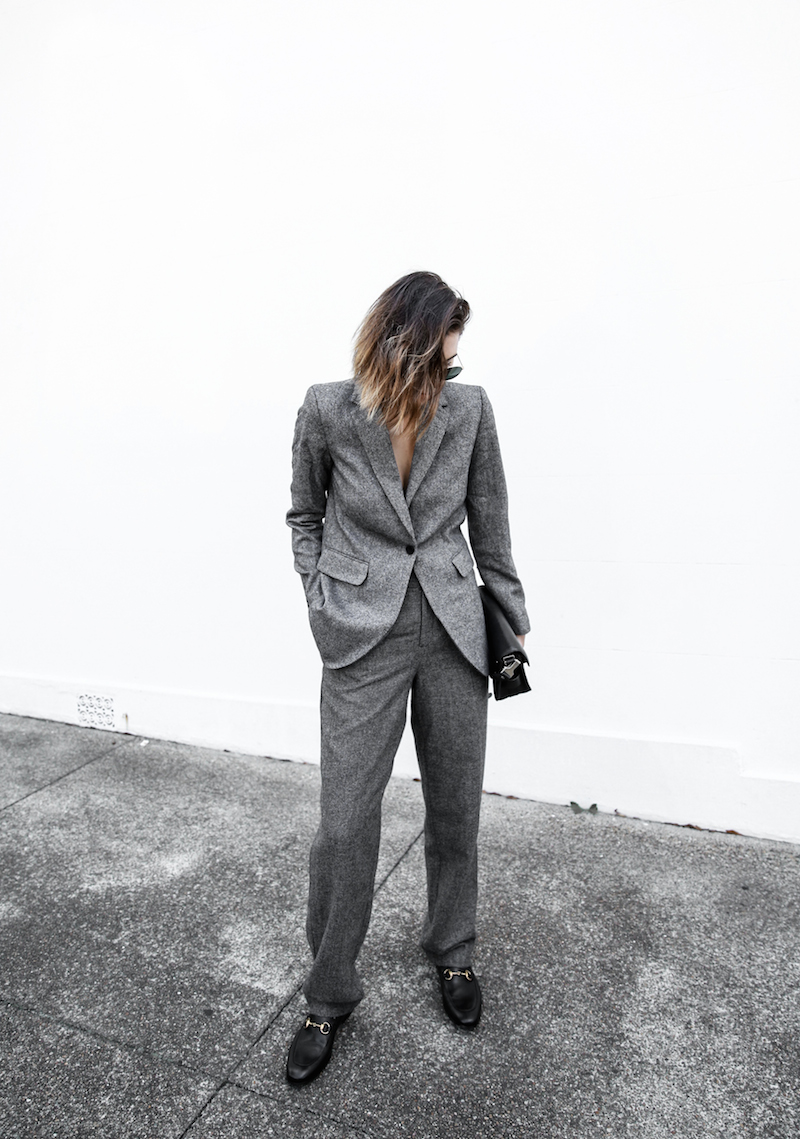 all grey suit Gucci horsebit loafer Proenza Schouler PS11 street style fashion blogger modern legacy Witchery  (1 of 11)