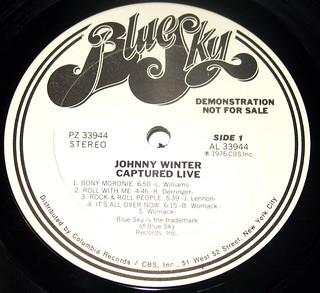 Johnny Winter Captured Live Promo LP