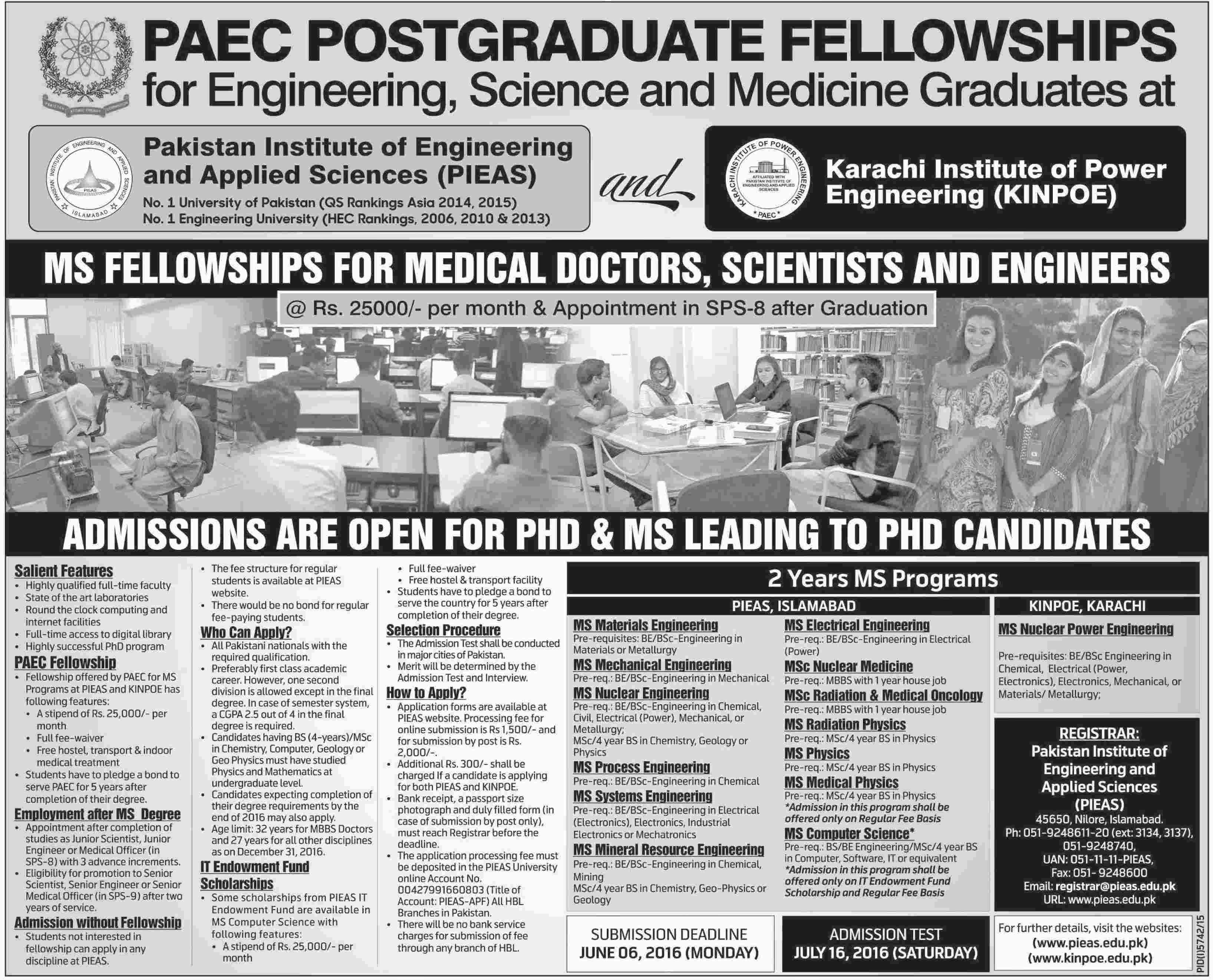 PIEAS Post Graduate Fellowships 2016