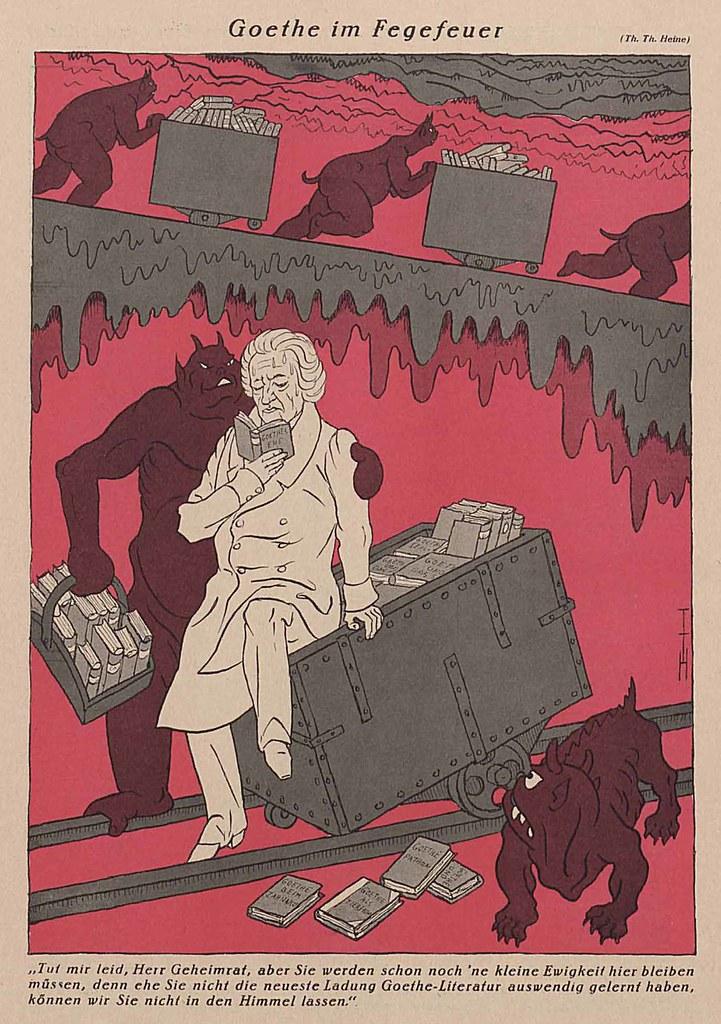 Thomas Theodor Heine - Goethe In Purgatory, 1932