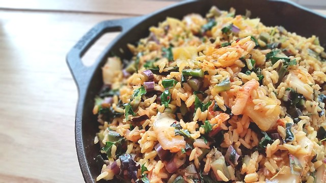 Purple Kale and kimchi fried rice
