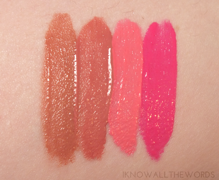 maybelline vivid matte liquid lipsticks 05 nude thrill, 10 nude flush, 15 pink charge, 20 electric pink