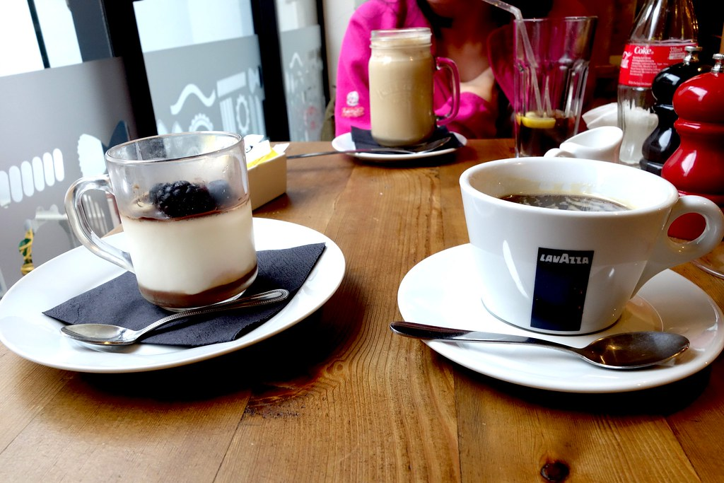 Americano Coffee with Basil and Wild Berry Pannacotta, Pasta Remoli, Finsbury Park