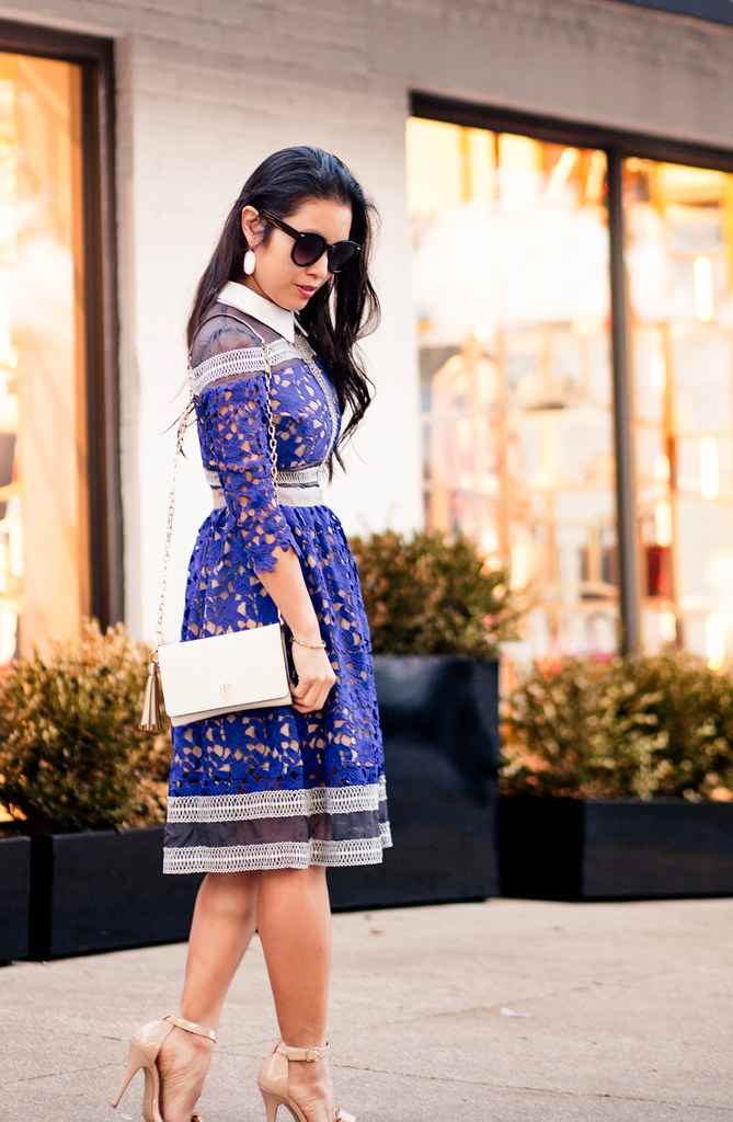cute & little blog | self-portrait blue crochet mesh dress, nude bow sandals, tory burch wallet on chain | fall winter outfit