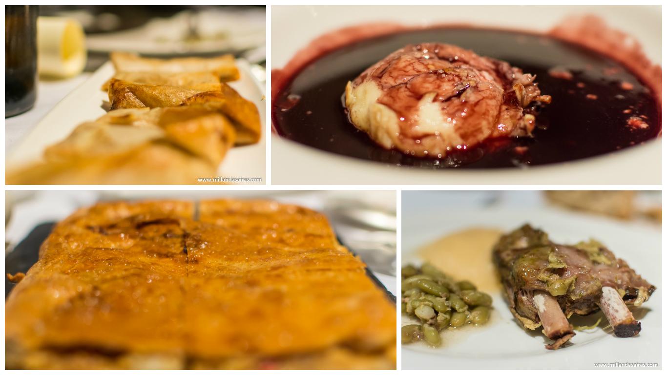 Crujientes de setas, mosto de mencía con queso de cabra, empanada de trigo con congrio y costilla de porco celta con fabas verdes