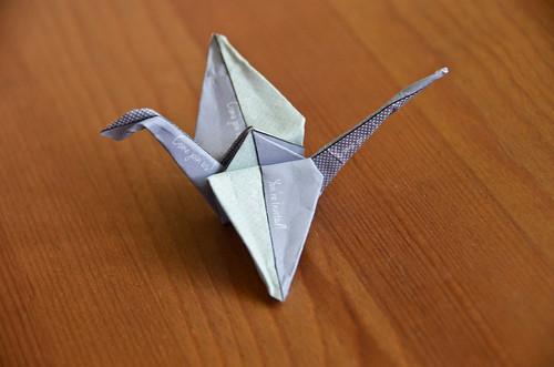 Completed Paper Crane from a Postcard!