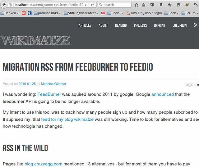 Make a RSS link in the head and in the navigation
