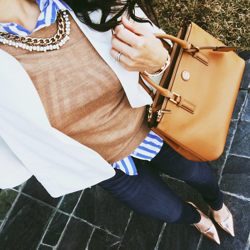 cute & little blog | petite fashion | white cape blazer, blue white striped shirt, camel sweater, petite jeans, gold pumps, statement necklace, tory burch robinson | spring outfit