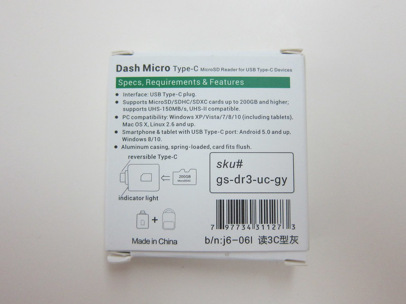 Dash microSD - Box Back