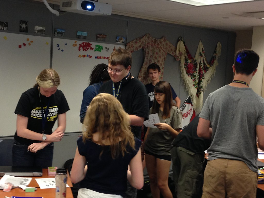 Students working on a project in the Russian foreign language academy.