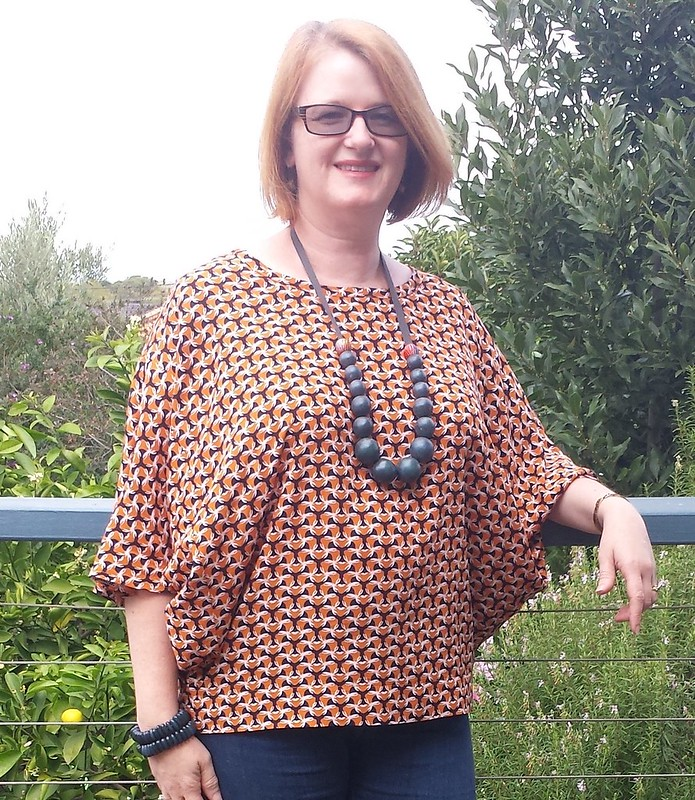 Uptown Top in Darn Cheap Fabrics woven viscose