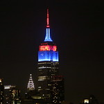 Blue and red Empire State Building