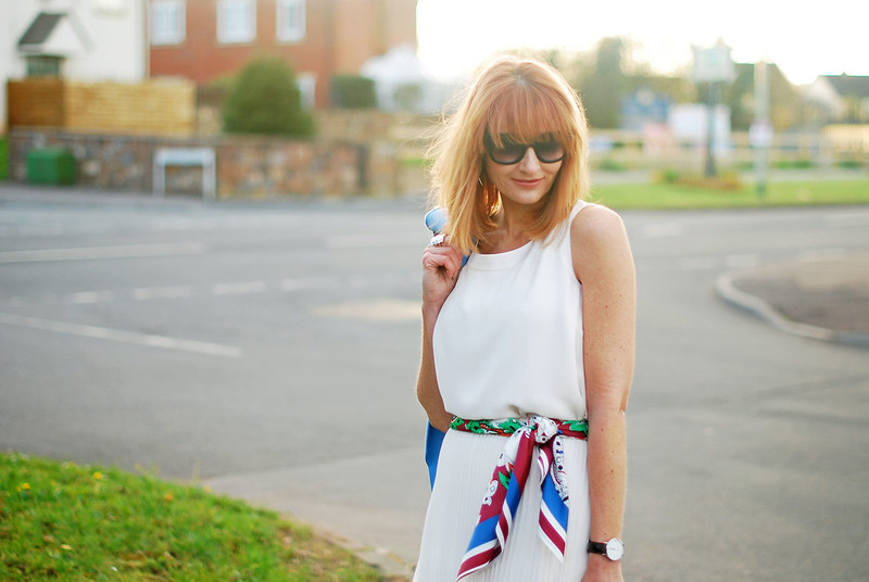 SS16 White pleated maxi skirt, white chiffon top, blue blazer, scarf as belt   Not Dressed As Lamb