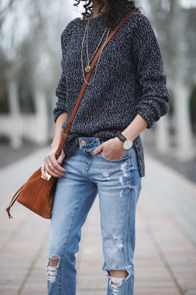 Everlane Chunky Wool Wide Crew Sweater Black Marl