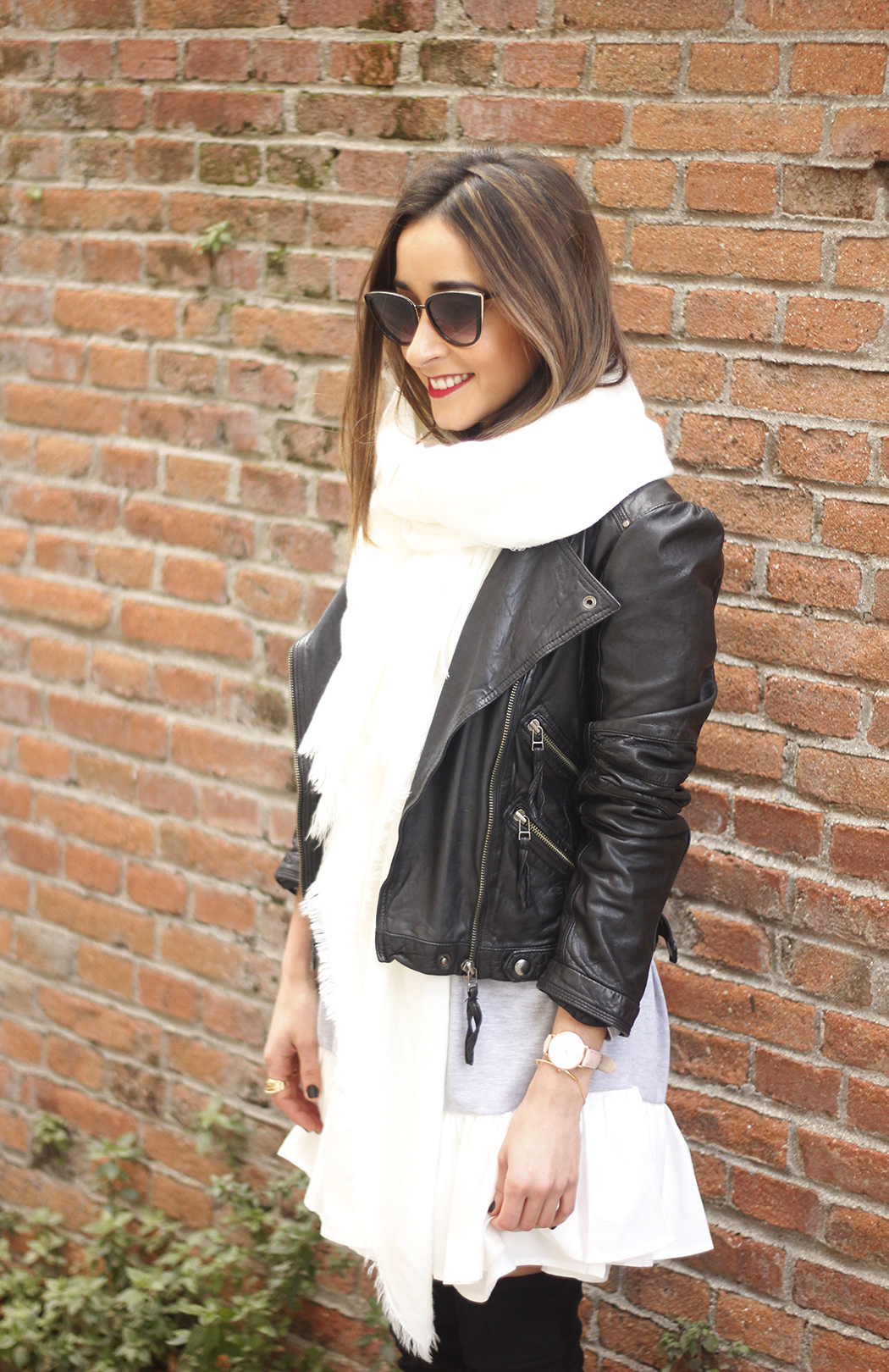 Leather Jacket gray dress over the knee boots style outfit fashion coach bag white scarf03