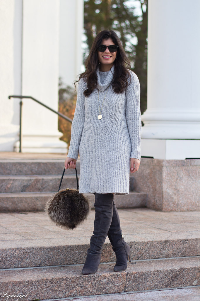 grey sweater dress, over the knee boots, fur bag-3.jpg