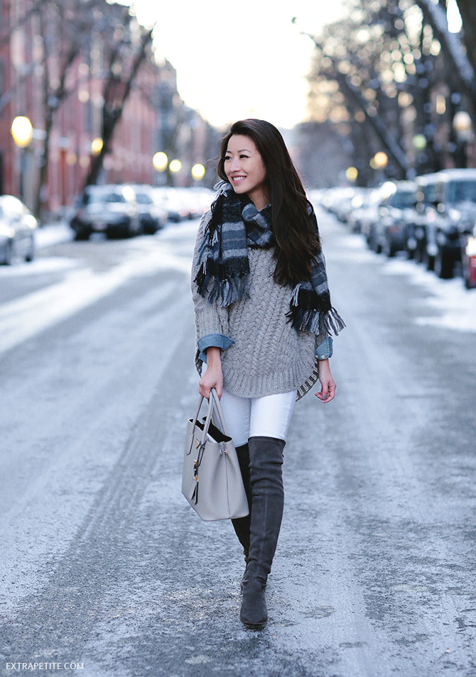boston winter outfit anthropologie cable sweater petite tall boots