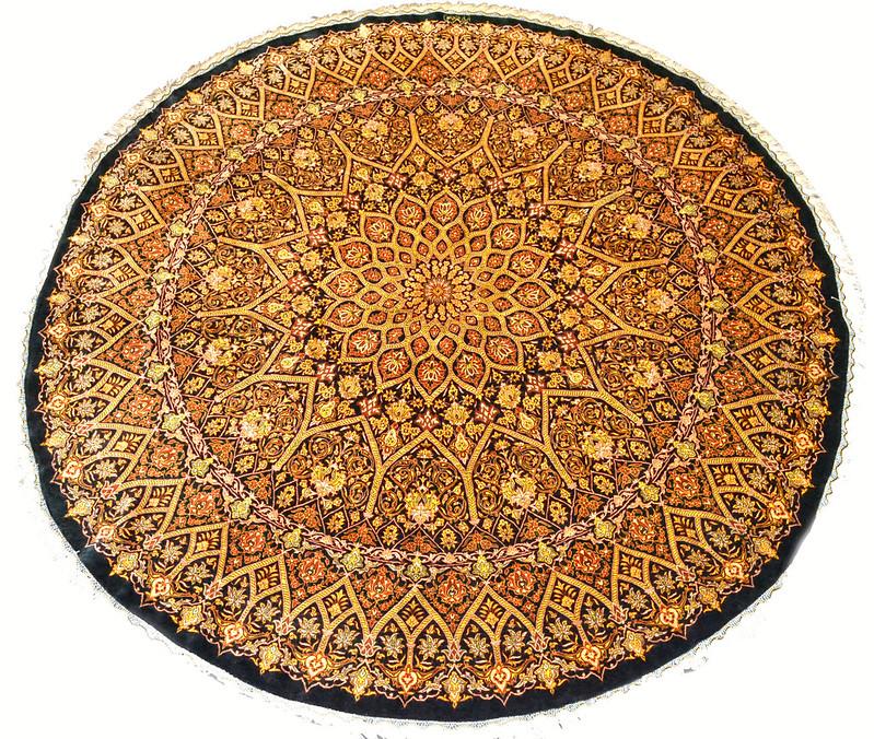 Qum Silk 200x200 Khaleghi Round Persian Rug