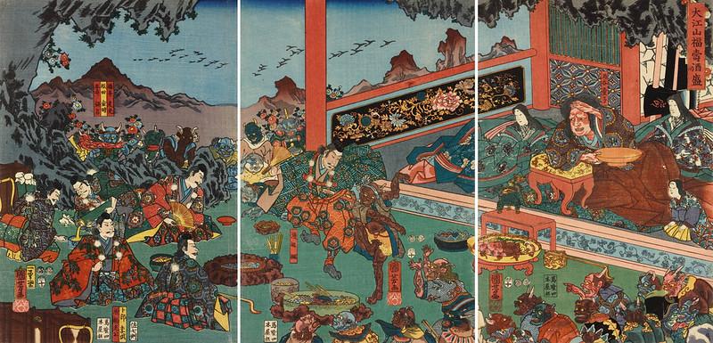 Utagawa Kuniyoshi - Raiko and his retainers entertaining the Shuten-doji and his demons with sake and dancing, 1853