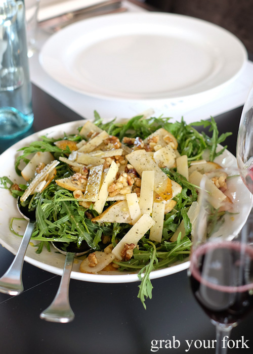 Rocket, pear and parmesan salad at Primo Estate in McLaren Vale, South Australia
