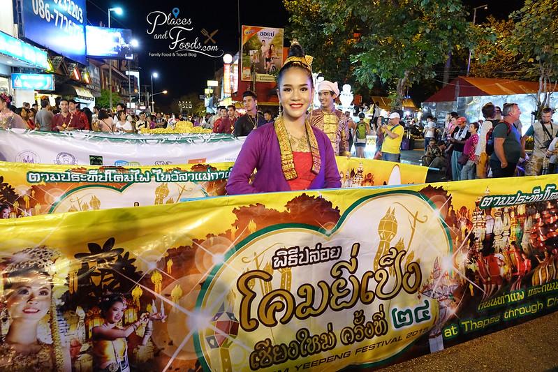 chiang mai loy krathong celebration day 1 parade girl