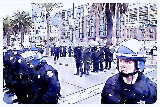 Tackle homelessness protest at Super Bowl City in San Francisco #SB50 #TackleHomelessness #TakeBackSF #waterlogue #SanFrancisco #SuperBowl #protest #homelessness #homeless #superbowl50
