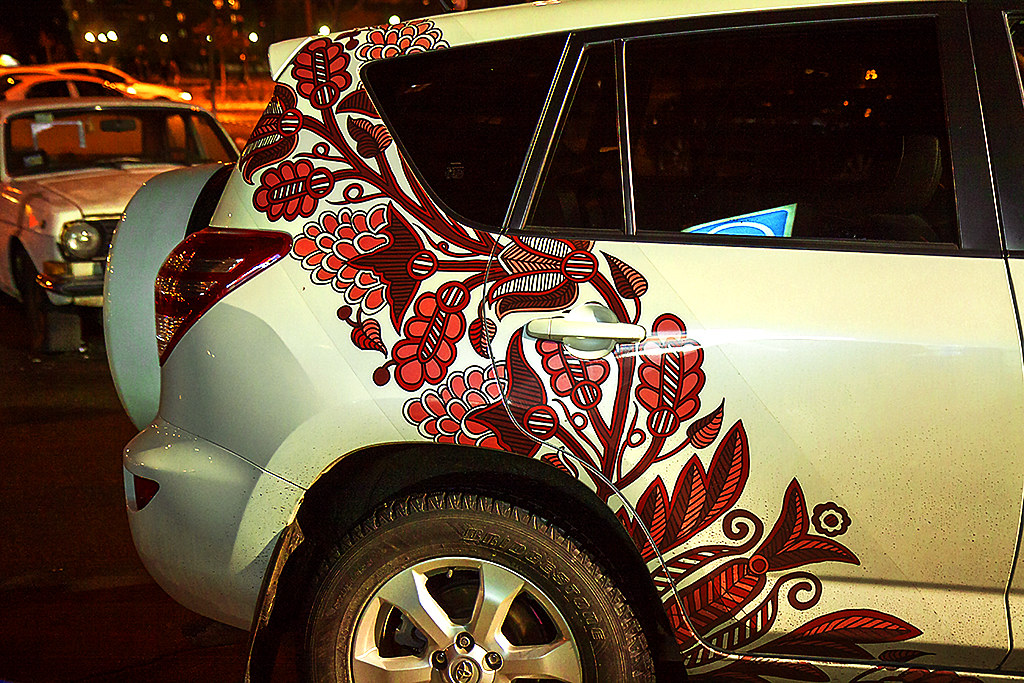 Vegetation decoration on car--Kiev