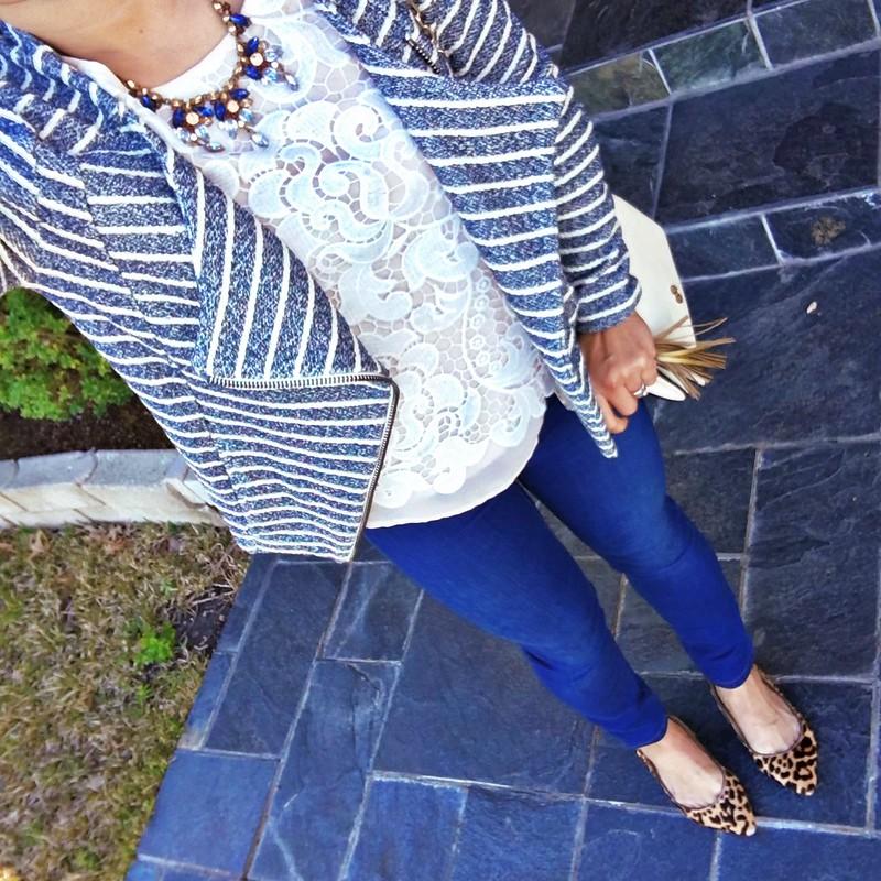 cute & little blog | petite fashion | lou & grey striped waterfall blazer, lace crochet top, petite skinny jeans, leopard pumps, tory burch white bag, tassel charm | spring outfit