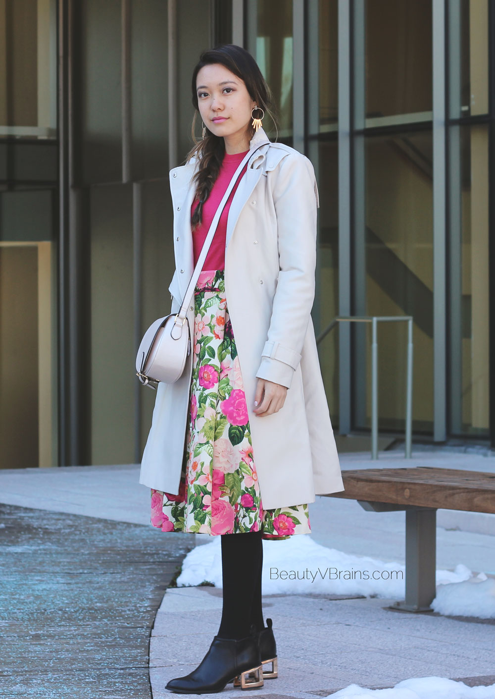 Spring outfit inspo trench coat and floral midi skirt