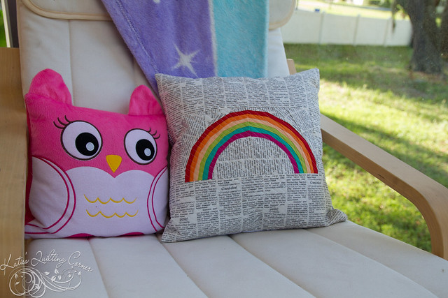 Paper Pieced Rainbow Pillow