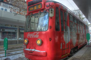 Tramcar with CocaCola ad. or 221 of Sapporo on DEC 29, 2015 (2)