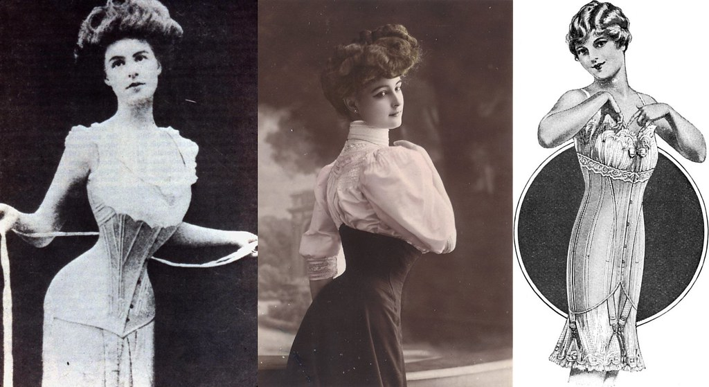 Edwardian era corsets. Left and middle: 1905. Right: 1917.