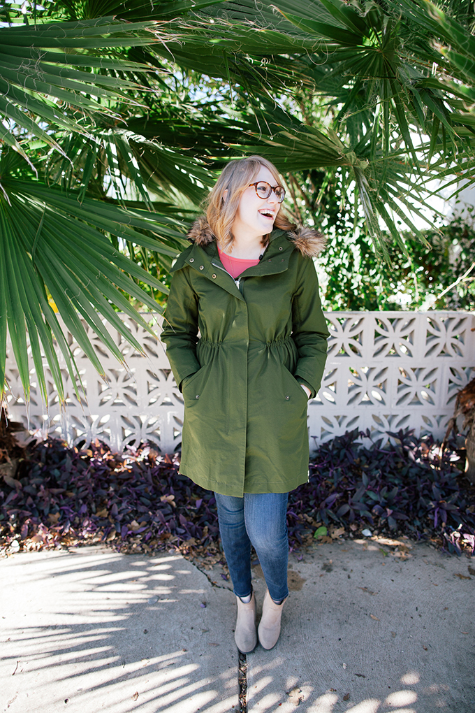 pink blouse green parka1