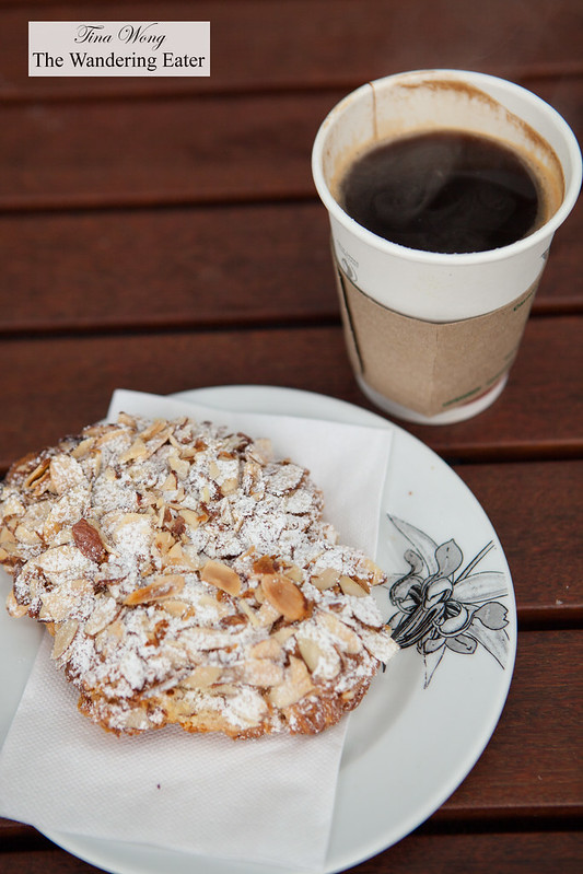 Double almond croissant and Americano