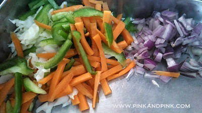 Indian Noodles Recipe  - Cut the vegetables