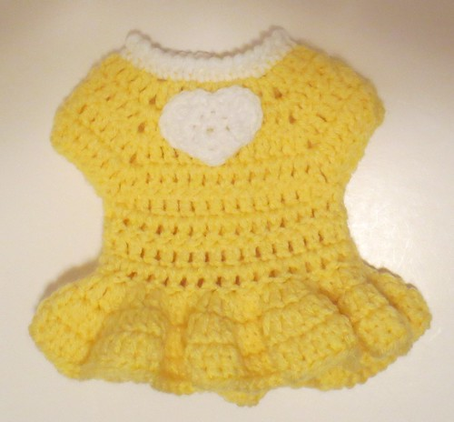 Yellow Heart 12 inch Doll Dress