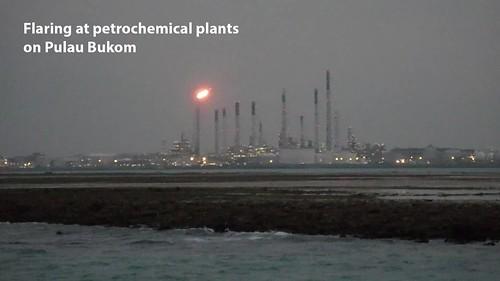 Flaring at petrochemical plants on Pulau Bukom