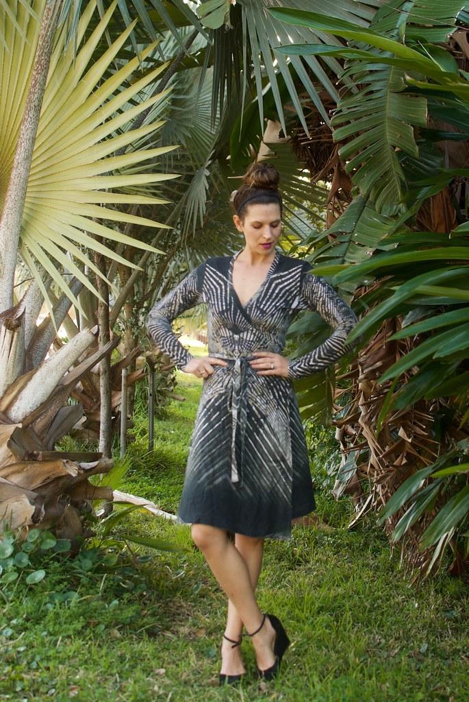 Mood Fabrics - Deep Forest Abstract Jersey Wrap Dress