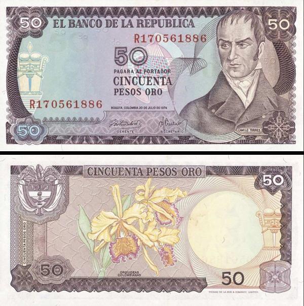 50 Pesos Oro Kolumbia 1974, P414 UNC