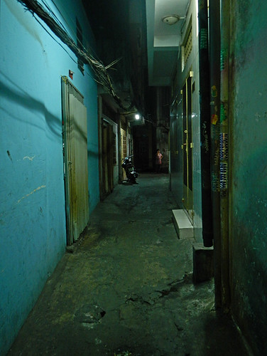 A narrow alley in HCMC (Saigon) at night