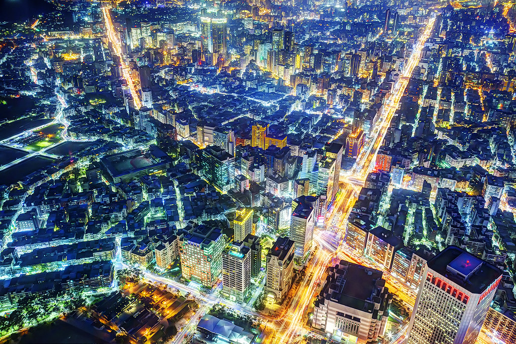 Evening Taipei Cityscape from Taipei 101 obervation deck