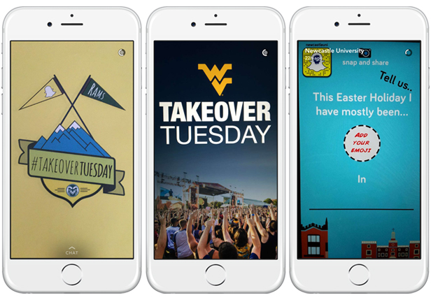 West Virginia University Snapchat takeover and Colorado State University Snapchat Takeover and Newcastle University Snapchat crowdsourced content